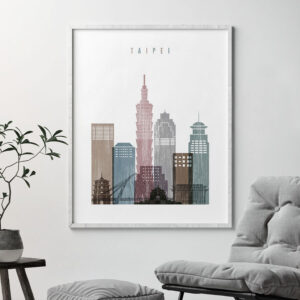 Taipei skyline poster distressed 1 second