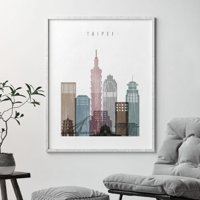 Taipei skyline poster distressed 1 second