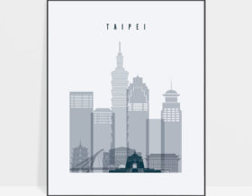 Taipei skyline poster grey blue