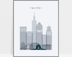Taipei skyline poster grey blue