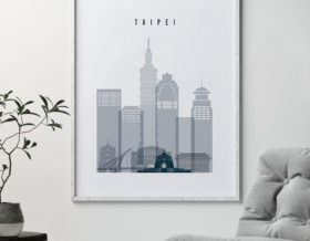 Taipei skyline poster grey blue second