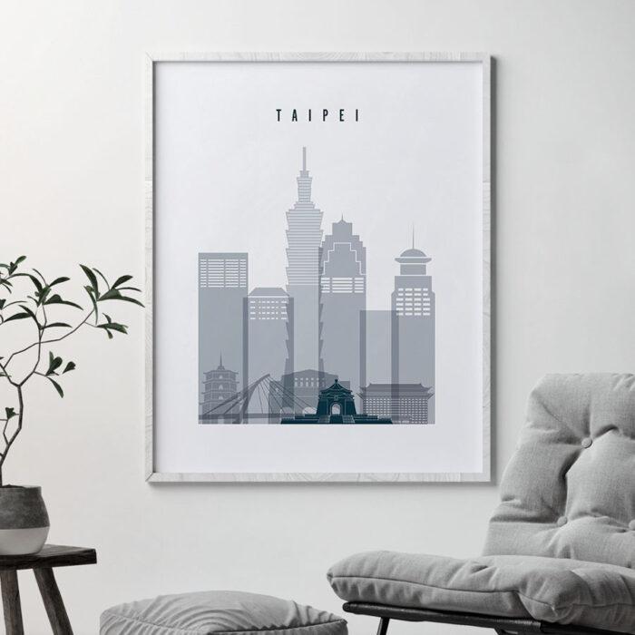 Taipei skyline poster grey blue second