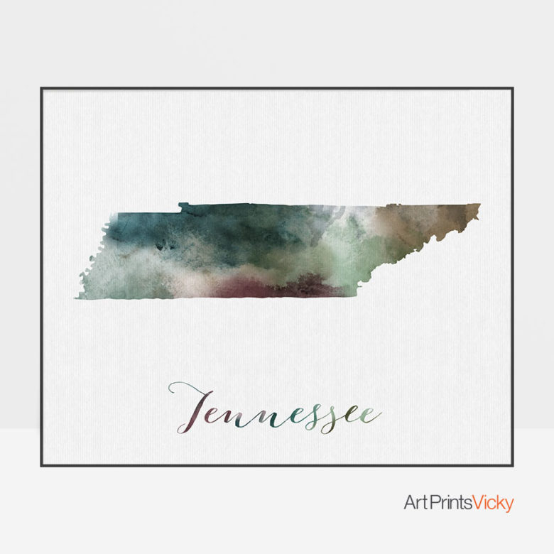 Tennessee State map print