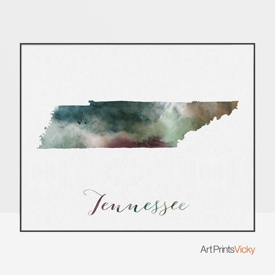 Tennessee State Map Print | Art Prints Vicky