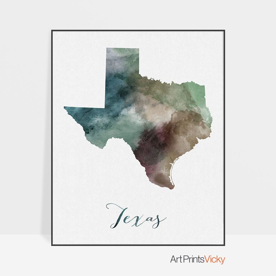 Texas State map print