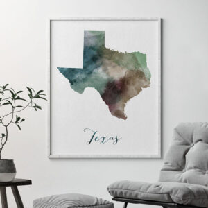Texas State map print second