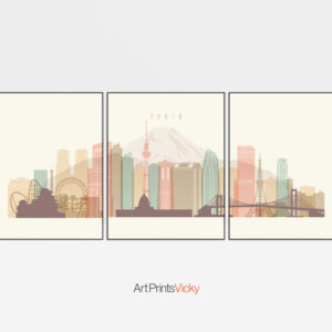 Tokyo set of 3 prints skyline pastel cream