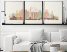 Tokyo set of 3 prints skyline pastel cream second