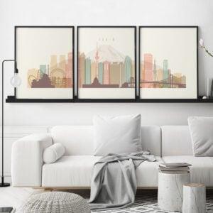 Tokyo set of 3 prints skyline pastel cream second