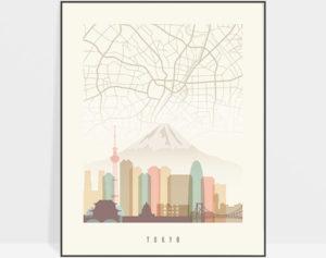 Tokyo map print poster pastel cream