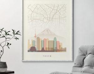 Tokyo map print poster pastel cream second
