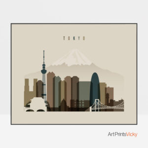 Tokyo art print landscape earth tones 3