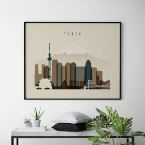 Tokyo art print landscape earth tones 3 second