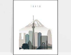 Tokyo art print skyline earth tones 4