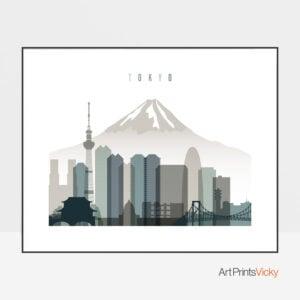 Tokyo Skyline Print Landscape Earth Tones 4