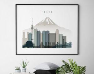 Tokyo skyline print landscape earth tones 4 second