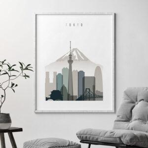 Tokyo art print skyline earth tones 4 second
