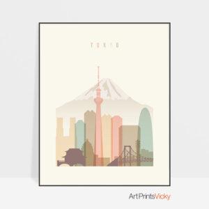 Tokyo art print skyline pastel cream