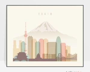 Tokyo travel poster pastel cream landscape