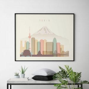 Tokyo travel poster pastel cream landscape second
