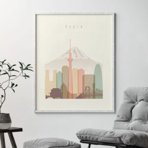 Tokyo art print skyline pastel cream second