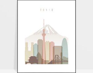 Tokyo wall art print pastel white