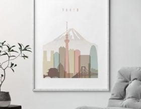 Tokyo wall art print pastel white second
