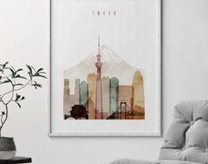 Tokyo poster watercolor 1 second