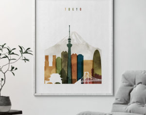 Tokyo wall art watercolor 3 second