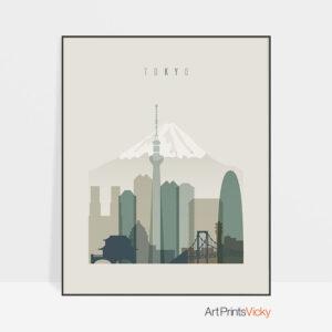 Tokyo print skyline earth tones 1