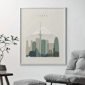 Tokyo print skyline earth tones 1 second