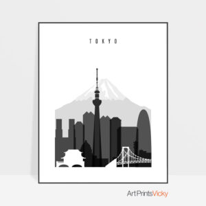 Tokyo black and white skyline poster