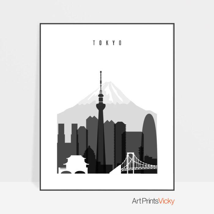 Tokyo black and white skyline poster