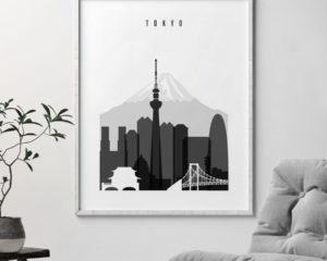 Tokyo black and white skyline poster second