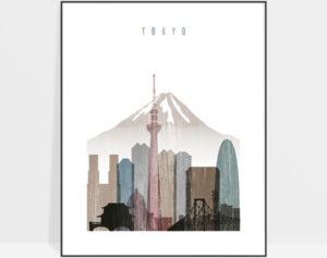Tokyo skyline poster distressed 1
