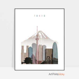 Tokyo skyline poster distressed 1