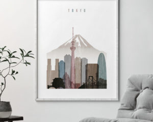 Tokyo skyline poster distressed 1 second
