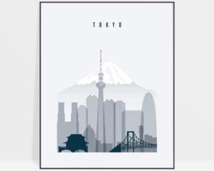 Tokyo skyline print grey blue