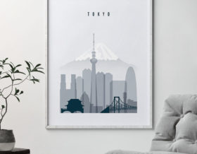 tokyo skyline poster grey blue second photo at artprintsvicky.com