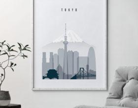 tokyo skyline poster grey blue second photo at artprintsvicky.com
