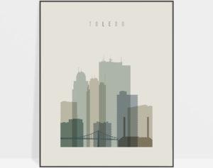 Toledo print skyline earth tones 1