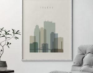 Toledo print skyline earth tones 1 second