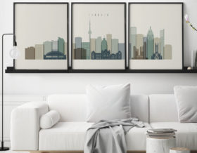Toronto skyline set of 3 prints earth tones 1 second