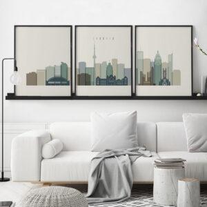 Toronto skyline set of 3 prints earth tones 1 second