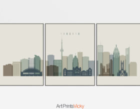 Toronto skyline set of 3 prints earth tones 1