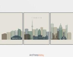 Toronto skyline set of 3 prints earth tones 1