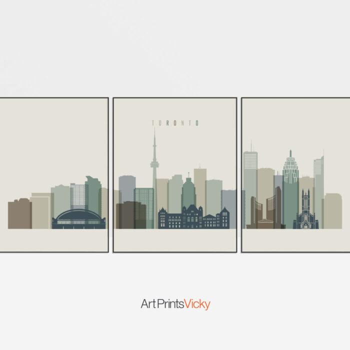Toronto 3 Prints Set Earth Tones 1