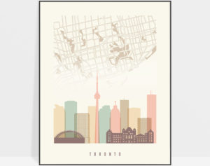 Toronto map print poster pastel cream