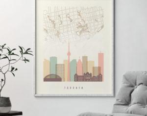 Toronto map print poster pastel cream second