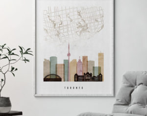 Toronto map skyline poster watercolor 1 second